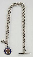 A silver fob chain and T bar with attached red, white and blue enamelled si