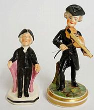 Two early 19th Century miniature figures - a gentleman wearing tricorn hat