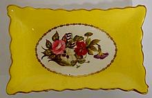 A Derby Stevenson & Hancock shaped rectangular pin tray finely painted with