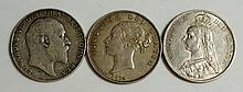 Coins, Great Britain, Silver Halfcrowns, Victoria, Young Head 1874 gVF+; Ju