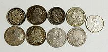 Coins, Great Britain, Silver Sixpences, Anne 1711; George II 1750, 57, 58;