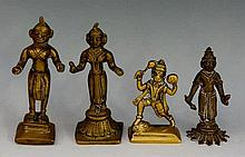 Four Indian brass deity figures, 12.5cm high and smaller