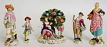Five porcelain figure groups, faux Chelsea and Derby marks, 17cm high and s