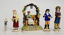 Five Continental porcelain figures, 11.5cm high and smaller, some bearing f