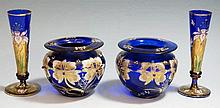 A pair of Bohemian Bristol blue bud vases enamelled with irises, gilded det