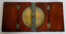 A George III mahogany cased brass surveyor's compass, maker unknown, hinged