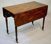 A George III mahogany Pembroke drop leaf table of good colour the figured t