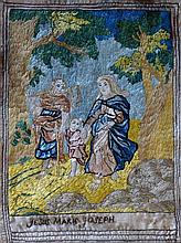 A late 17th/early 18th Century silk embroidered picture titled 'Jesus, Mari