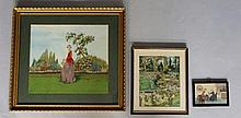 An Edwardian silk embroidery picture of a young lady picking flowers in a g