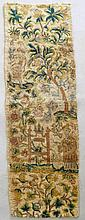 A 17th Century wool/silk Chinoiserie style embroidery fragment depicting tw