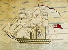 A 19th Century needlework picture worked in coloured wools with a masted sa