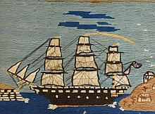A Naive wool work picture of  a three masted sailing ship, worked in colour
