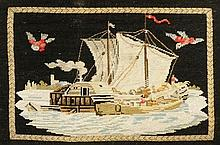 A 19th Century needlework picture, worked in coloured wools with sailing, s