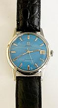 An Omega Seamaster Automatic with steel case, blue dial with calendar aperture at 3, screw down crown, face 30mm diameter on a black leather strap