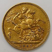 A Victoria old head sovereign,  1897