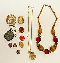 A pair of Victorian gold plated foliate engraved Pince Nez, a pair of silver mounted ebony glove stretchers, a quantity of costume jewelry, etc. (qty)