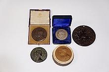 An Elkington & Co bronze medal George V, cased; another George V brass meda