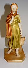 A Royal Worcester James Hadley figure of a young girl carrying basket, and