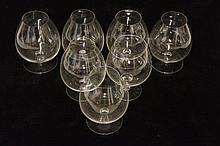 Seven brandy glasses