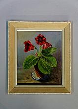 Vernon Holme - still life of plant in terracotta pot, oil on board, signed