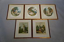 Francis Wheatley (after) - a set of five coloured mezzotints, 32 cm x 23 cm