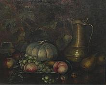 B. Dade Glover - Fruit piece, still life with leafage, fruit and flagon, oi