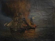 Claude. T. Stanfield Moore - Pirate ship with burning ship beyond, an eveni