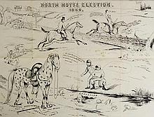 North Notts. Election 1880 - an election poster, humorous, 41cm x 54cm, framed