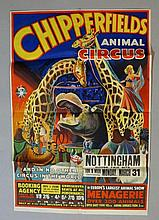 Chipperfield's Animal Circus, and in no other circus in the world, Nottingham Goose Fair site, for one week commencing Monday March 31st, printed lithographic poster by W.E. Berry Ltd, Bradford, 74cm x 50cm, folded