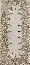 An embroidered panel the beige ground worked in gold coloured metal thread and sequins with continuous band of stylised flower heads and trailing foliage, 80cm x 38cm, framed
