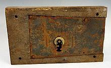 An 18th / 19th Century lock the oak frame stamped Keep & Hinckley ?, 15cm x 25cm