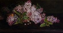 G. Hayes - still life of vase and lilac blossom, oil on canvas, 27cm x 50cm, framed