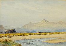Josiah Clinton Jones (1848-1936) - extensive mountainous landscape with gulls on the shore, figure with hay cart to the centre, signed lower left, watercolour, 24cm x 34cm, framed