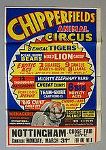 Chipperfield's Animal Circus, Bengal tigers, Polar and Brown bears, mixed lion group..., a menagerie of over 200 animals, Nottingham Goose Fair site commencing Monday March 31st for one week, lithographic poster, 72cm x 52cm folded (faults)
