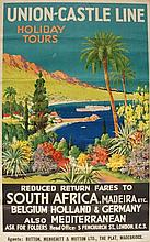 Travel Poster - Greig - Union-Castle Line Holiday Tours, reduced return fares to South Africa, Madeira etc. Belgium, Holland & Germany also Mediterranean, ask for folders Head Office: 3 Fenchruch Street, London, EC3, agents: Button, Menhenitt &