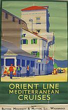 Travel Poster - KB - Orient Line Mediterranean Cruises, agents: Button, Menhenitt & Mutton Ltd, Wadebridge 102cm x 62cm