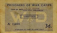 Prisoners of War Camps 3d banknote RAF Station, Tern Hill Shropshire, no. A154881, very rare; other wartime notes