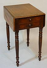 A Victorian mahogany drop-leaf table fitted two short and two blind drawers, turned legs, 52cm deep, 74cm wide, Circa 1840 (faults)