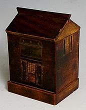 Treen - an early 19th Century puzzle cottage money box with parquetry inlaid windows and door, the front with applied brass hinged plate, the base sliding to release the drop down back, 13cm wide, 9cm high, 7cm deep, Circa 1820 (faults)