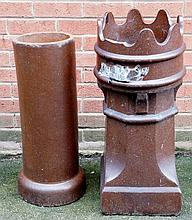 Two salt glazed chimney pots, one plain cylindrical, the other with crown top, crown top 78cm high (both with faults)