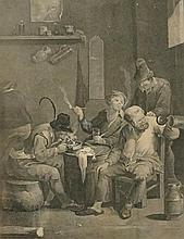 Boors Drinking And Boors At Cards In the Cabinet At Houghton, 35cm x 25cm, framed