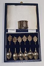 A set of six teaspoons, North Western Railway Regiment, stamped silver, cas
