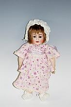 An Alt Beck & Gotschalck small doll with bisque head and wig, flip back eye