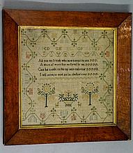 A George IV needlework sampler worked with alphabet and verse, inscribed ''