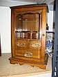 OAK 3 DRAWER SMOKERS CABINET WITH BEVELLED GLASS