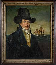 PORTRAIT OF AN AMERICAN NAVAL OFFICER IN TOP HAT. DUTCH SCHOOL, EARLY NINETEENTH CENTURY.