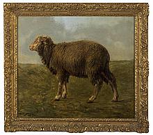 ROSA BONHEUR (FRENCH 1822-1899). SHEEP IN A LANDSCAPE.