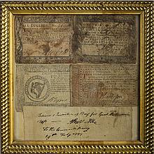 AARON BURR, LIEUTENANT COLONEL IN THE CONTINENTAL ARMY. SIGNED COMMISSARY ORDER, 24TH JULY, 1777, AND FOUR PIECES OF CONTINENTAL PAPER CURRENCY, 1775-78.