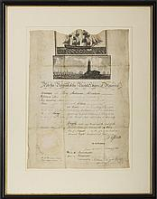 THOMAS JEFFERSON, PRESIDENT OF THE UNITED STATES, SIGNED SHIP'S PASSAGE FOR THE BRIG