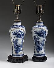 PAIR OF CHINESE EXPORT PORCELAIN BLUE AND WHITE VASES, CIRCA 1805.